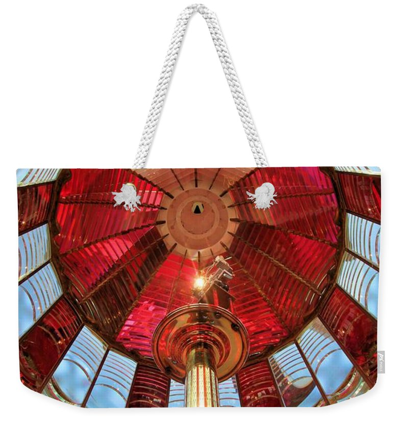 First Order Fresnel Lens Weekender Tote Bag featuring the photograph 1st Order Fresnel Lens by Adam Jewell