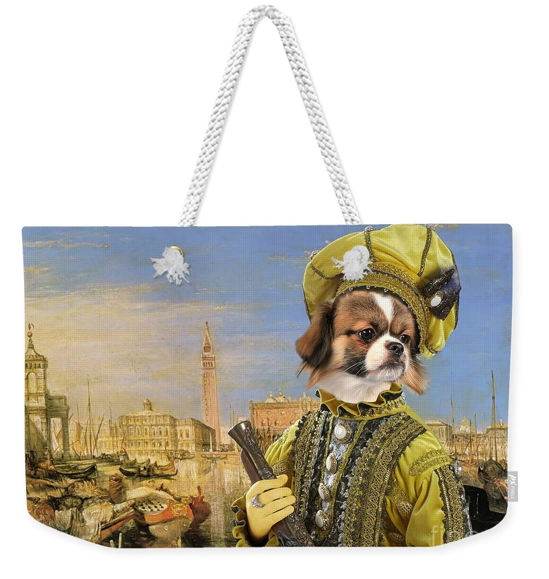 Tibetan Spaniel Weekender Tote Bag featuring the painting Tibetan Spaniel Art Canvas Print by Sandra Sij