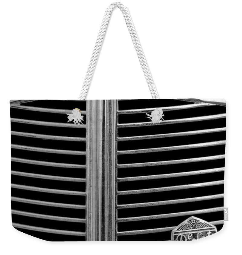 1936 Desoto Airstream Grille Emblem Weekender Tote Bag featuring the photograph 1936 Desoto Airstream Grille Emblem by Jill Reger