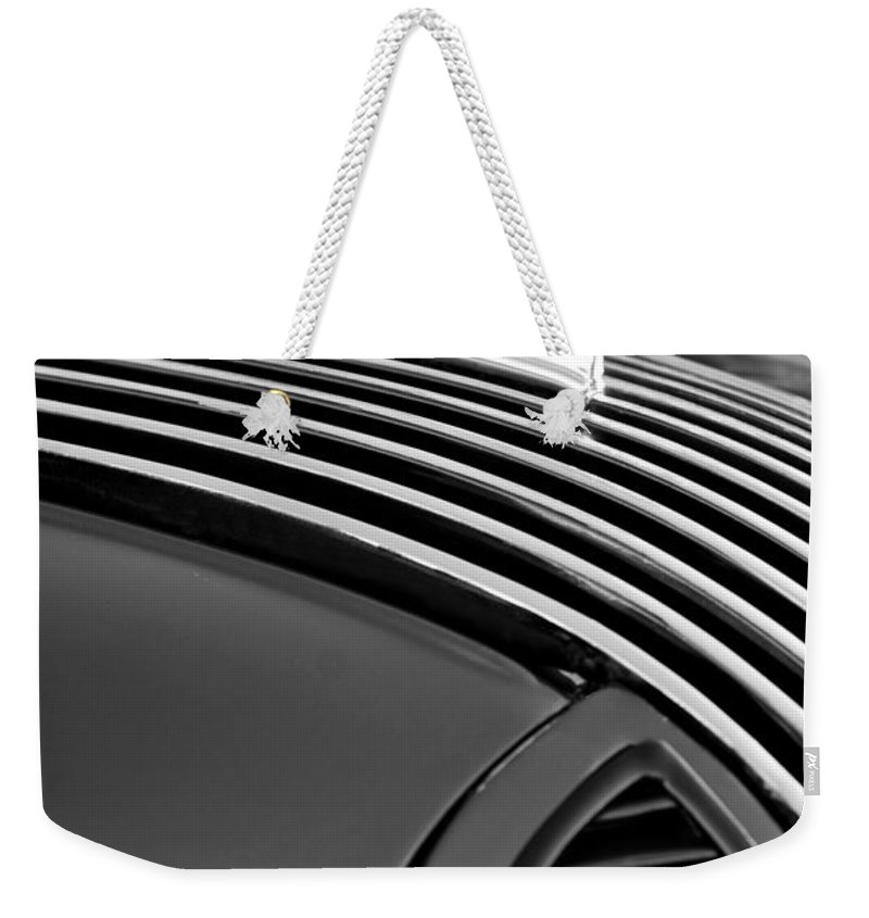 1936 Pontiac Hood Ornament. Black And White Weekender Tote Bag featuring the photograph 1936 Pontiac Hood Ornament by Jill Reger