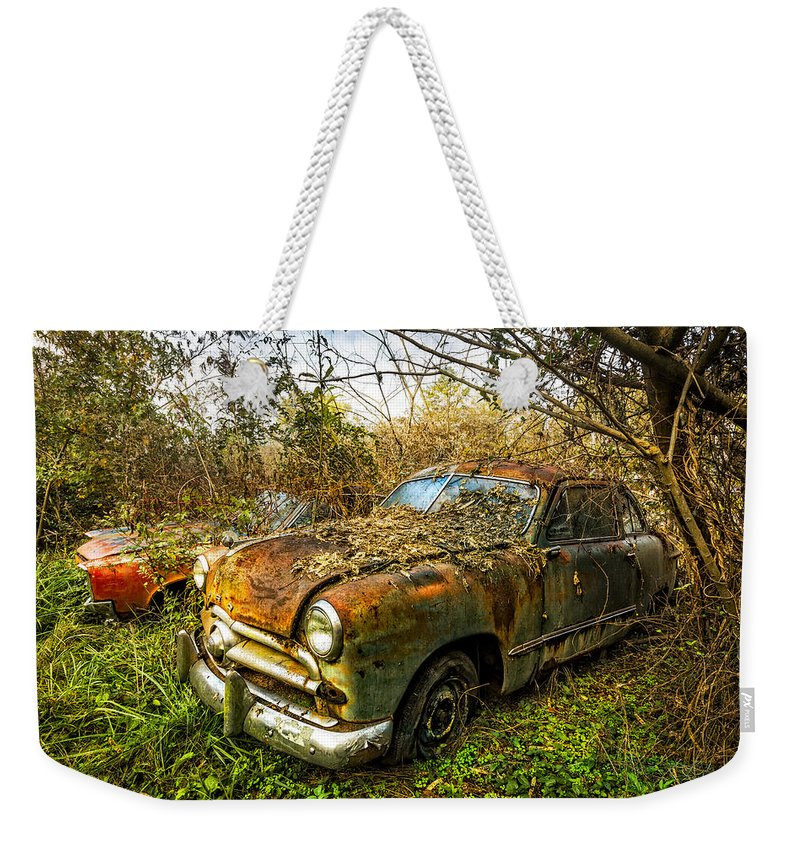 1940s Weekender Tote Bag featuring the photograph 1949 Ford by Debra and Dave Vanderlaan
