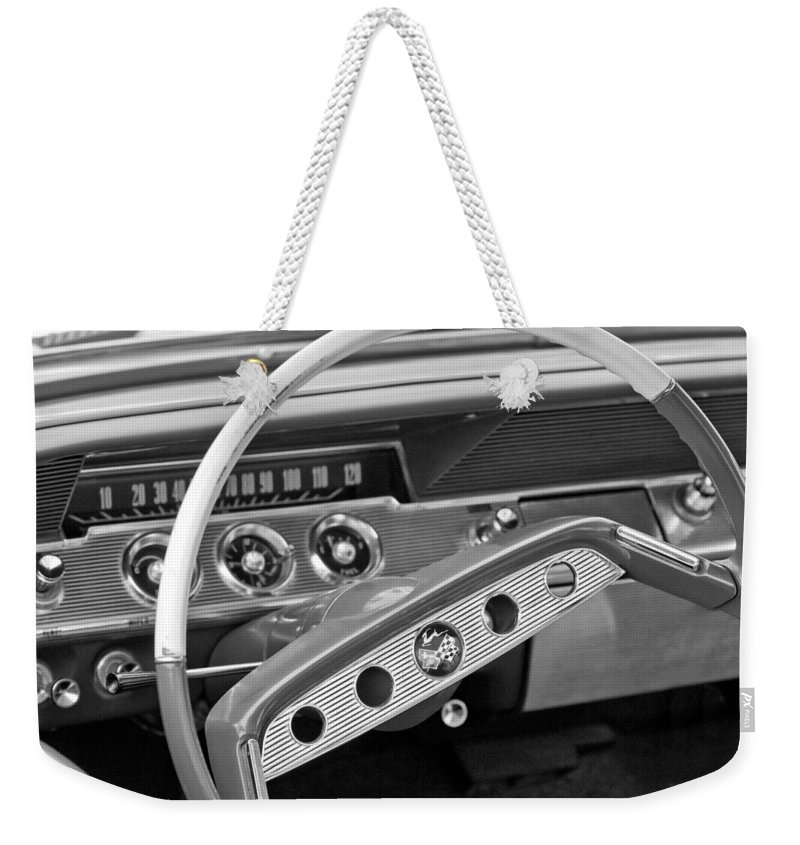 1961 Chevrolet Impala Ss Steering Wheel Emblem Weekender Tote Bag featuring the photograph 1961 Chevrolet Impala Ss Steering Wheel Emblem by Jill Reger
