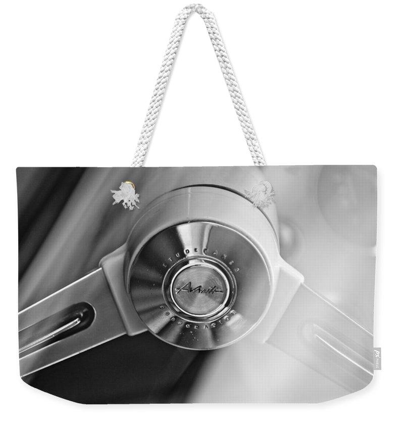 1963 Studebaker Avanti Weekender Tote Bag featuring the photograph 1963 Studebaker Avanti Steering Wheel by Jill Reger