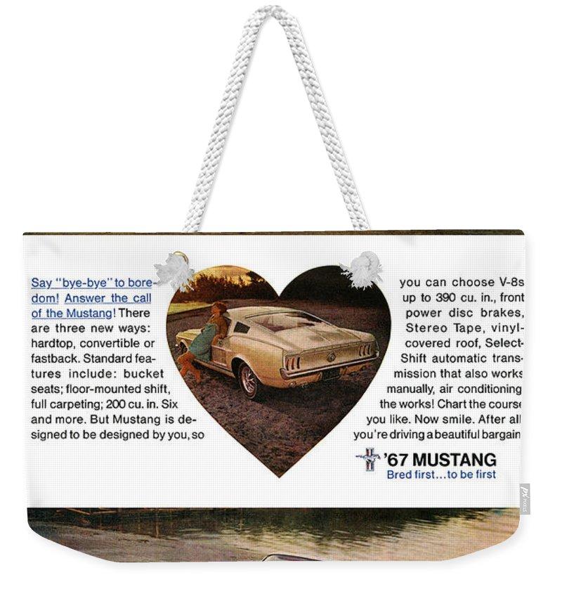 1967 Ford Mustang Weekender Tote Bag