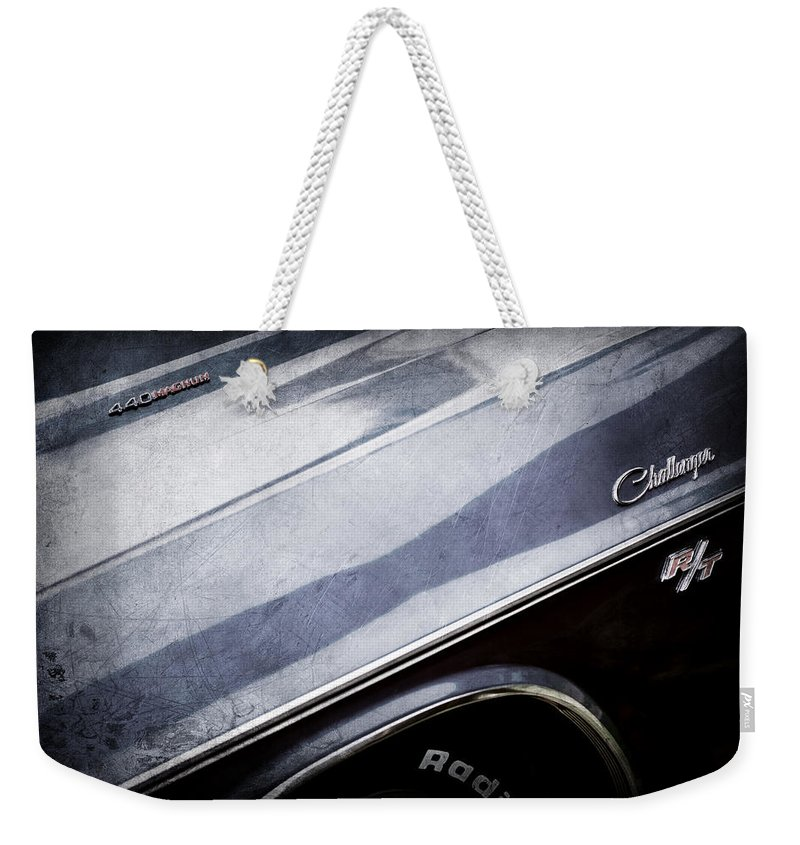 1970 Dodge Challenger Rt Convertible Emblems Weekender Tote Bag featuring the photograph 1970 Dodge Challenger Rt Convertible Emblems by Jill Reger