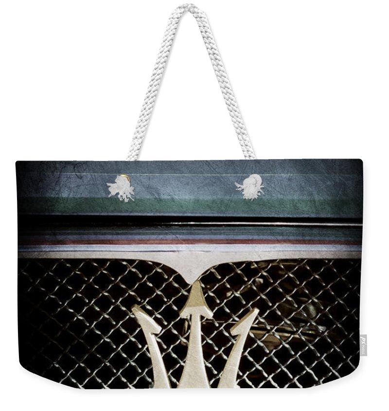 1972 Maserati Ghibli Grille Weekender Tote Bag featuring the photograph 1972 Maserati Ghibli Grille - Hood Emblems by Jill Reger