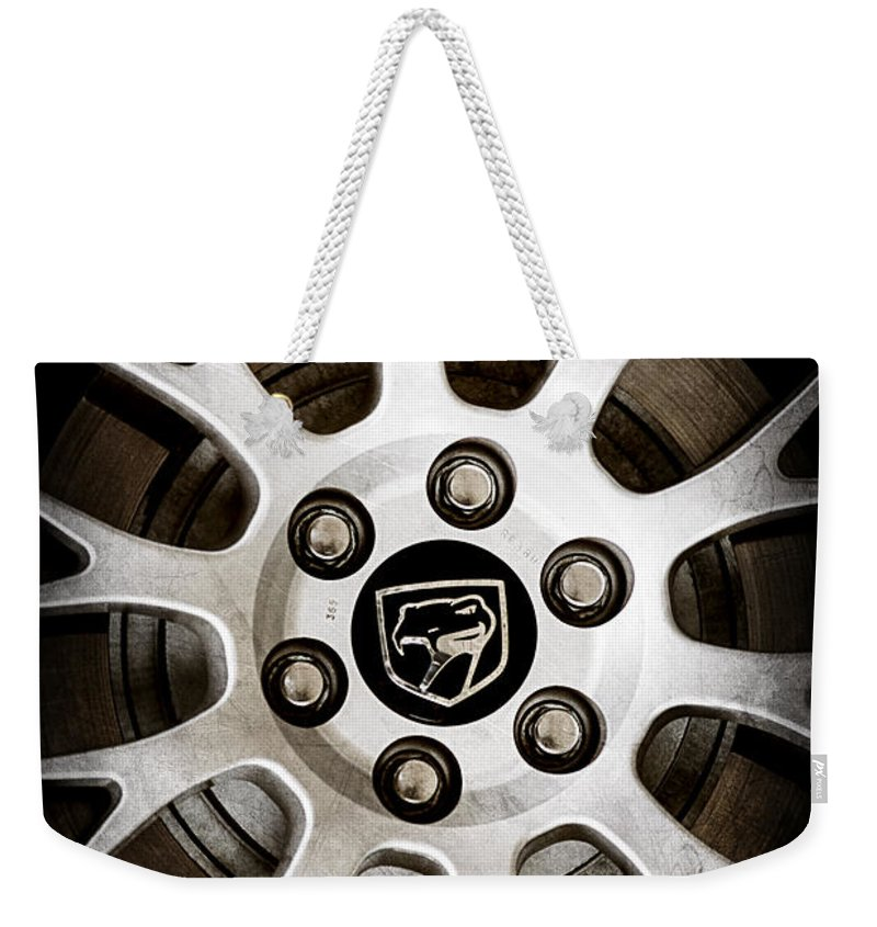 1998 Dodge Viper Gts-r Wheel Emblem Weekender Tote Bag featuring the photograph 1998 Dodge Viper Gts-r Wheel Emblem by Jill Reger