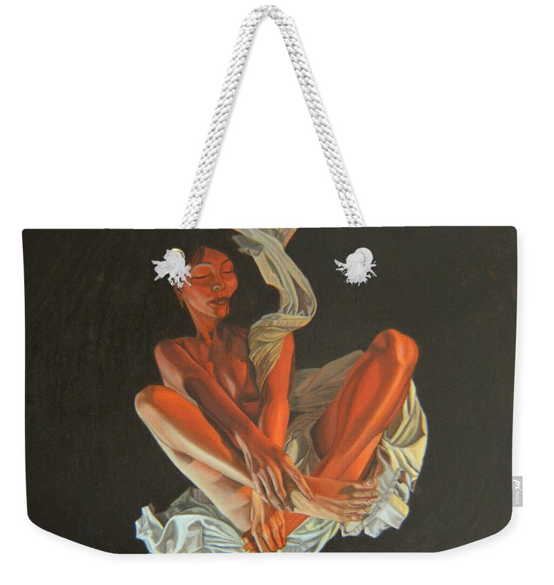 Semi-nude Weekender Tote Bag featuring the painting 2 30 Am by Thu Nguyen