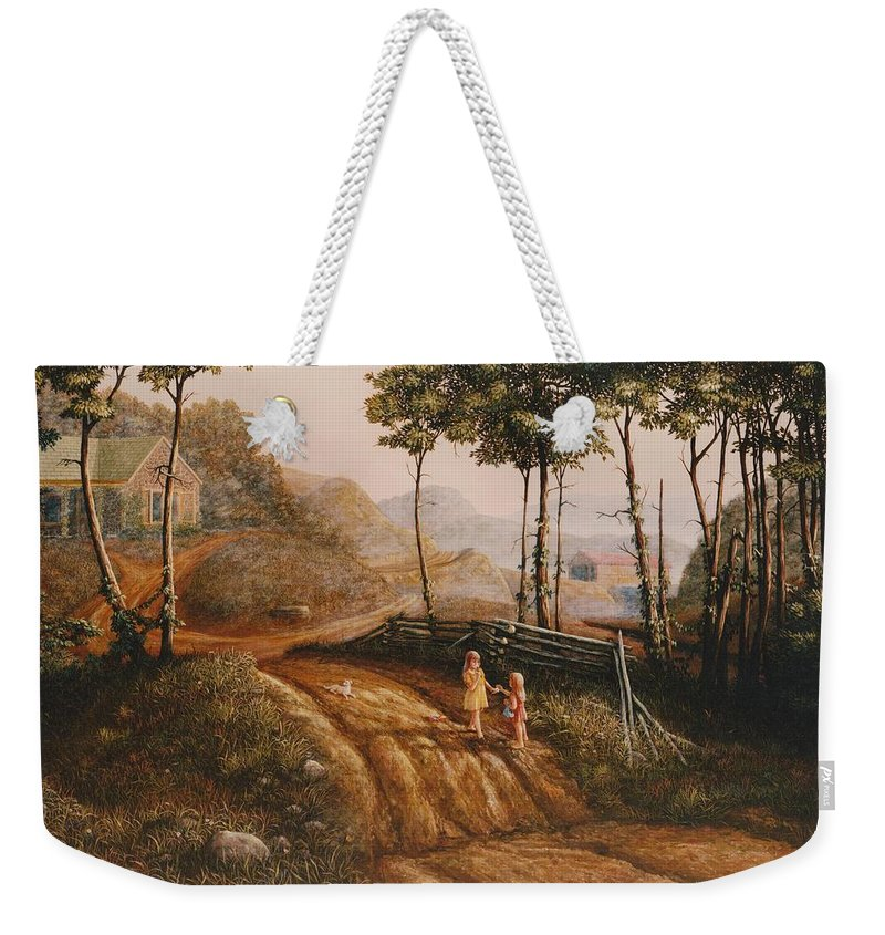 Country Weekender Tote Bag featuring the painting A Country Lane by Duane R Probus