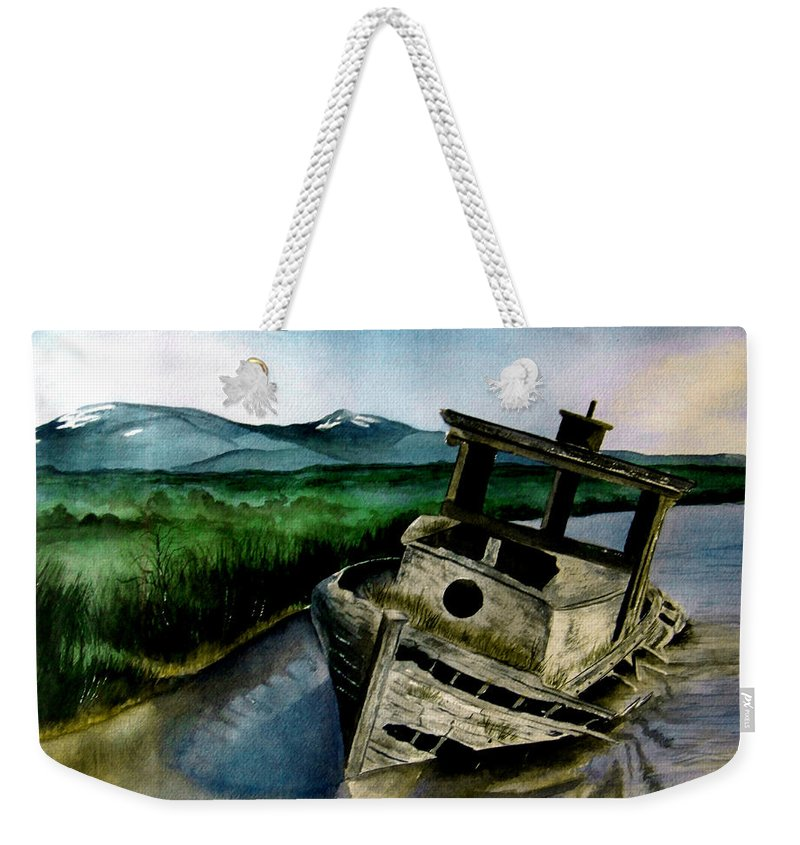 Watercolor Weekender Tote Bag featuring the painting Abandoned by Brenda Owen