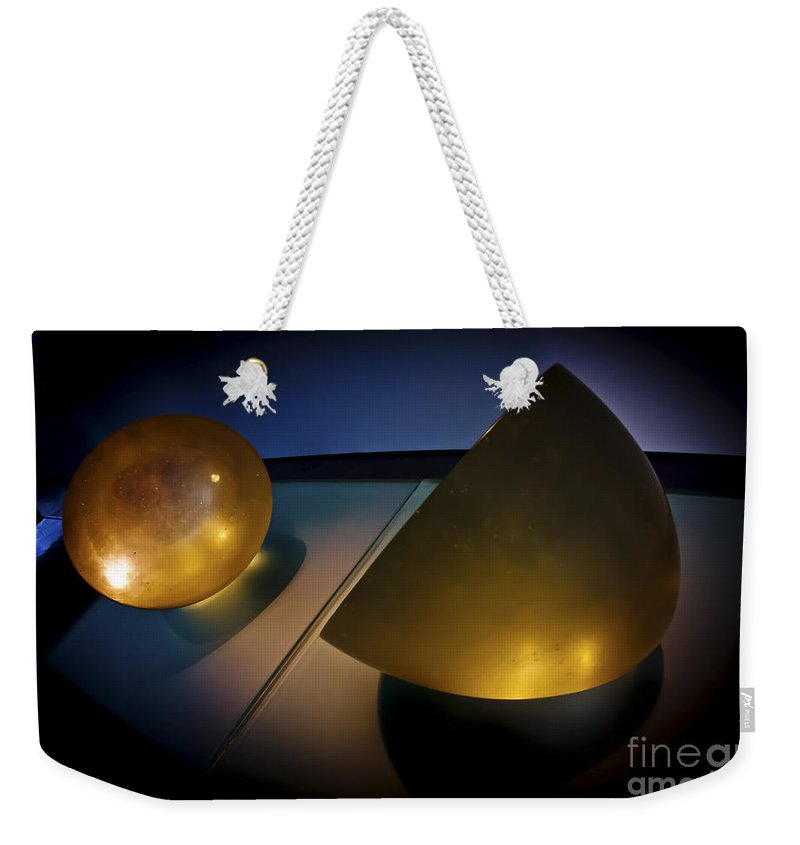 Yellow Weekender Tote Bag featuring the photograph Abstract 3d Shapes by Dan Yeger