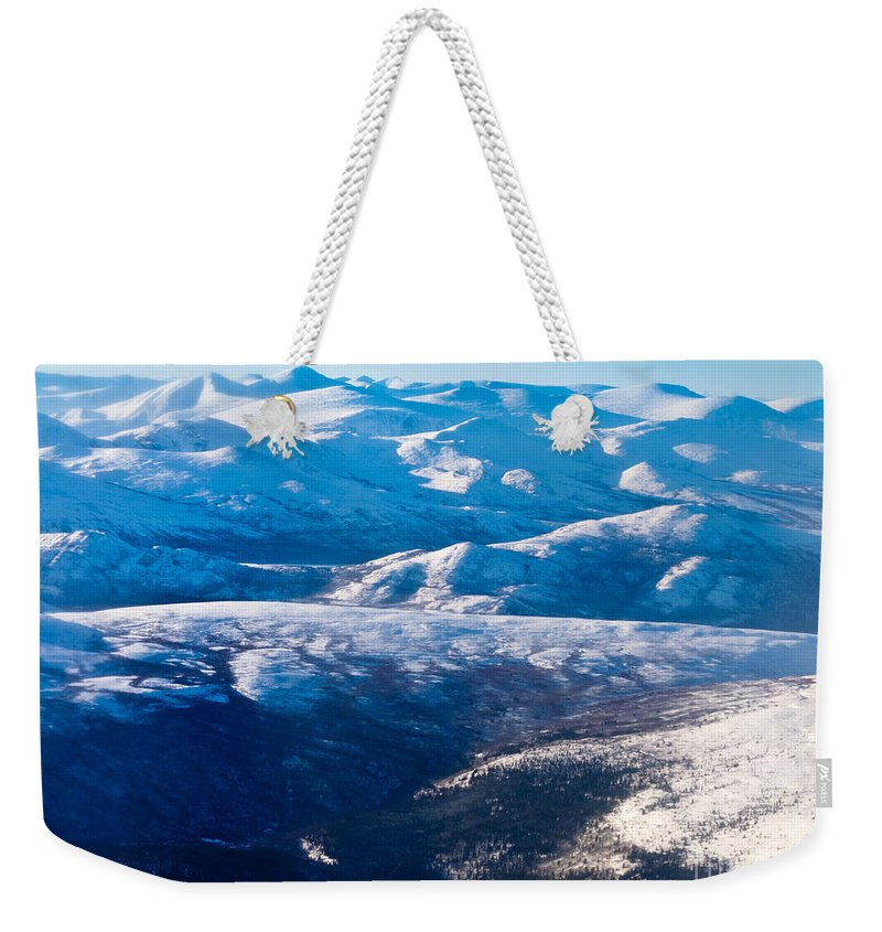 Aerial Weekender Tote Bag featuring the photograph Aerial View Of Snowcapped Peaks In Bc Canada by Stephan Pietzko