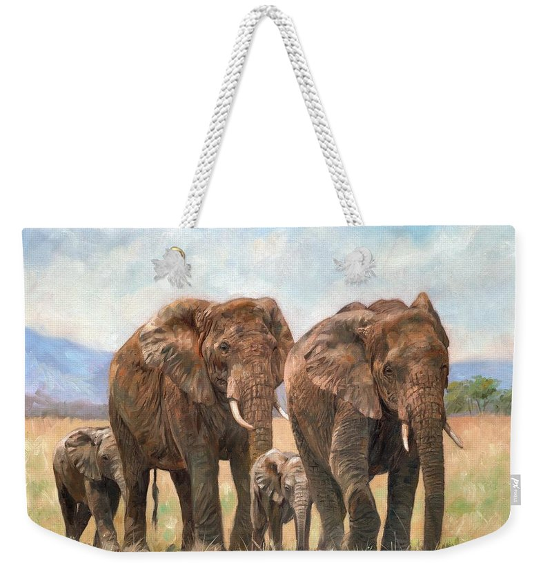Elephant Weekender Tote Bag featuring the painting African Elephants by David Stribbling