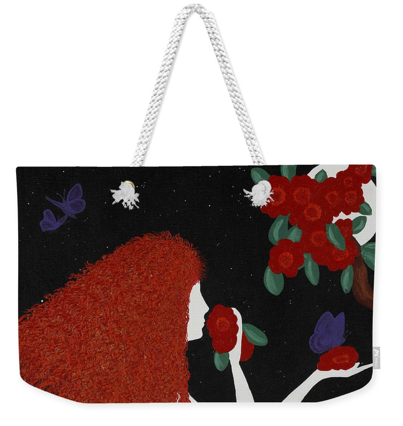 Night Weekender Tote Bag featuring the painting Afrodite by Nathalie Sorensson