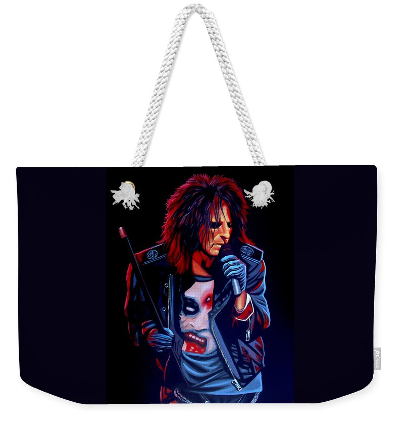 Alice Cooper Weekender Tote Bag featuring the painting Alice Cooper by Paul Meijering