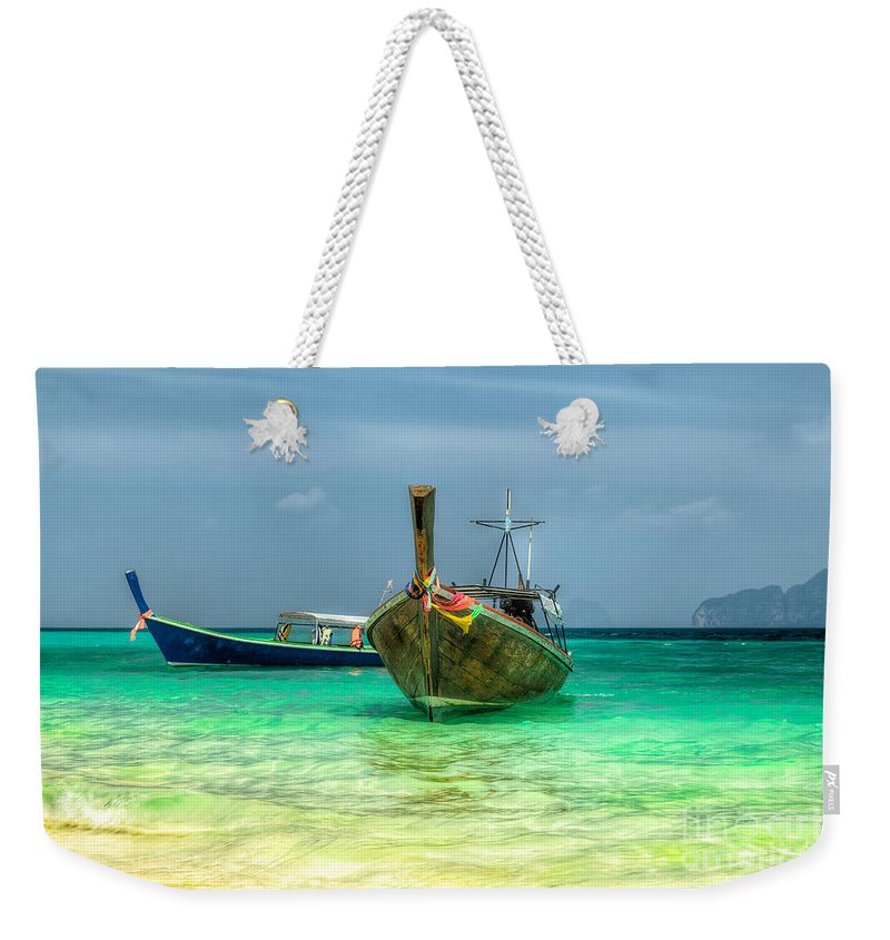 Asia Weekender Tote Bag featuring the photograph All Aboard by Adrian Evans