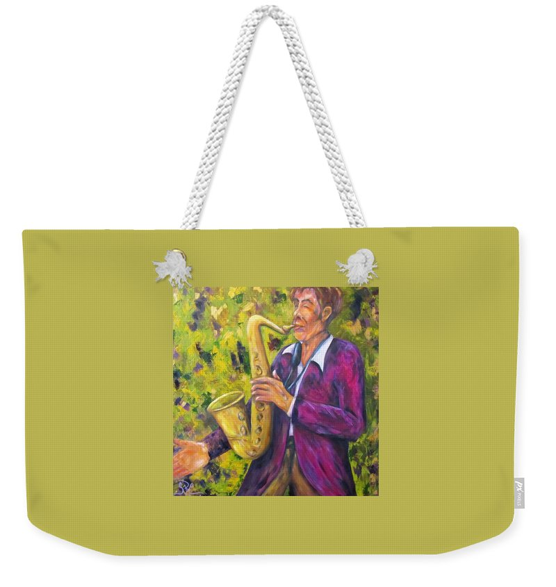 Saxophone Player Weekender Tote Bag featuring the painting All That Jazz, Saxophone by Sandra Reeves