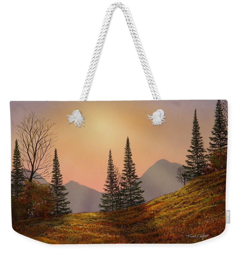 Alpine Sunset Weekender Tote Bag featuring the painting Alpine Sunset by Frank Wilson
