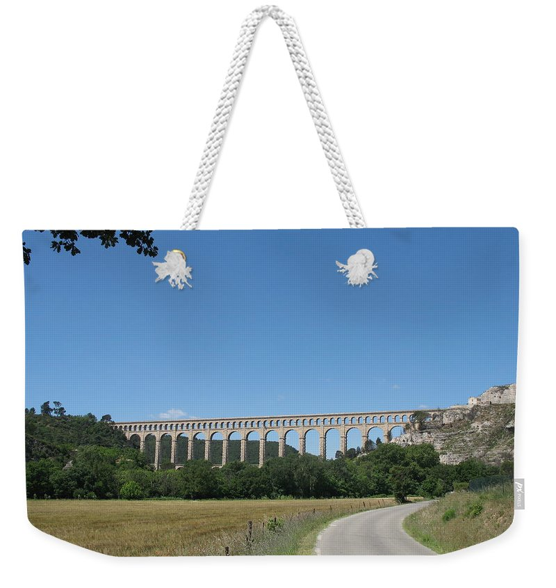 Aqueduct Weekender Tote Bag featuring the photograph Aqueduct Roquefavour by Christiane Schulze Art And Photography