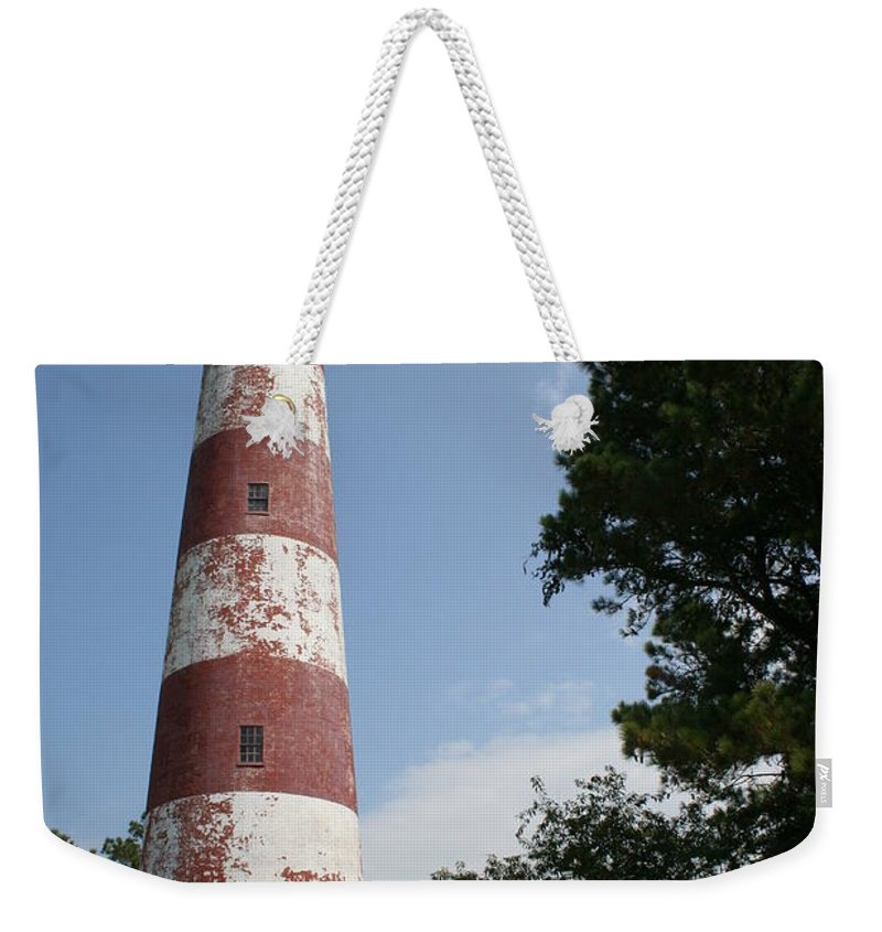 Lighthouse Weekender Tote Bag featuring the photograph Assateague Lighthouse by Christiane Schulze Art And Photography