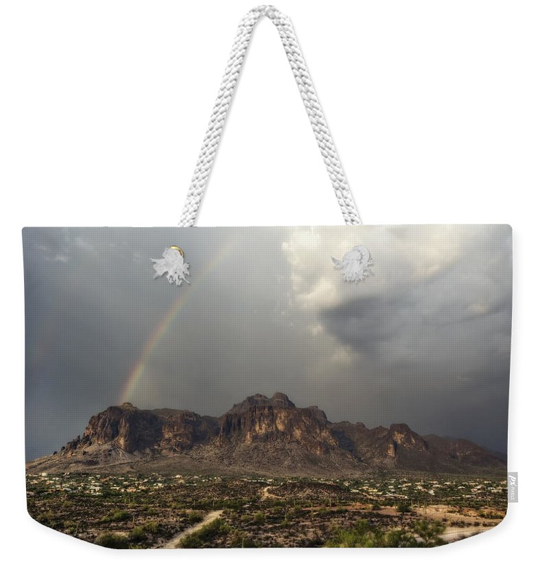 Sunset Weekender Tote Bag featuring the photograph At The End Of The Rainbow by Saija Lehtonen