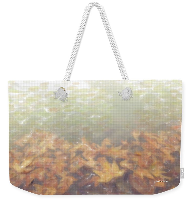 Autumn Weekender Tote Bag featuring the painting Autumn Leaves Floating In The Fog by Angela Stanton