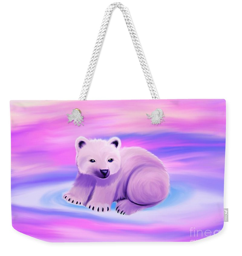 Polar Bear Weekender Tote Bag featuring the painting Baby Polar Bear by Nick Gustafson