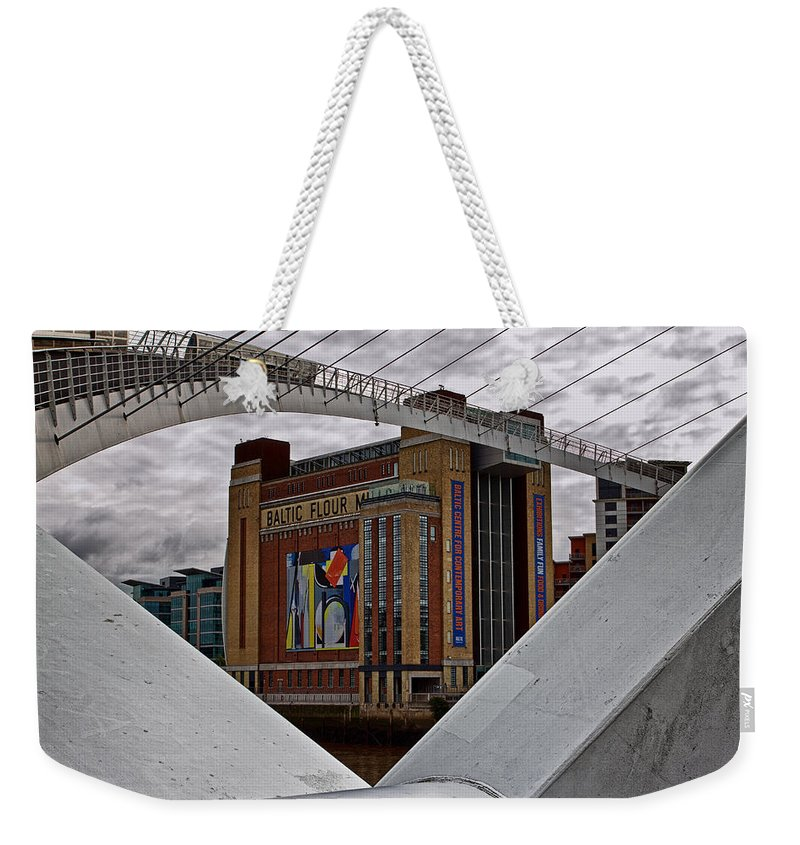 Millennium Bridge Weekender Tote Bag featuring the photograph Baltic And Gateshead Millennium Bridge by David Pringle