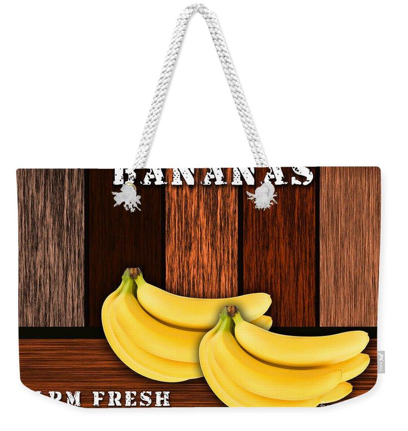 Bananas Photographs Mixed Media Weekender Tote Bag featuring the mixed media Bananas by Marvin Blaine