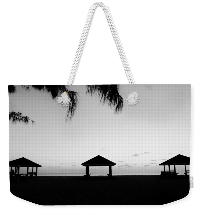 Black And White Weekender Tote Bag featuring the photograph Beach Huts by Amar Sheow
