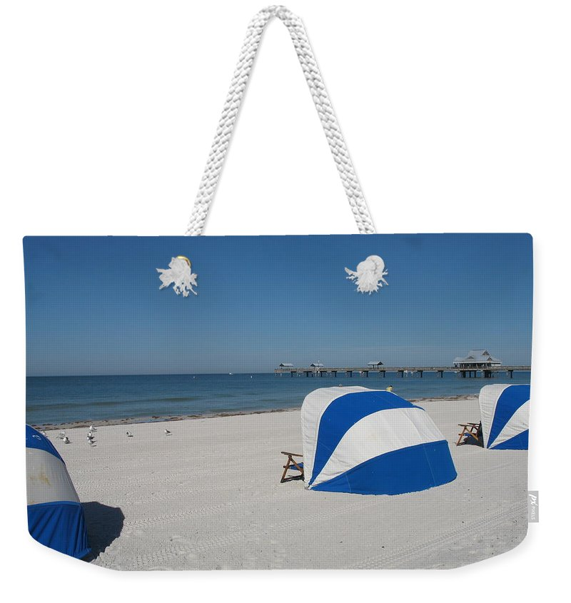 Beach Weekender Tote Bag featuring the photograph Beach With Beachchairs by Christiane Schulze Art And Photography