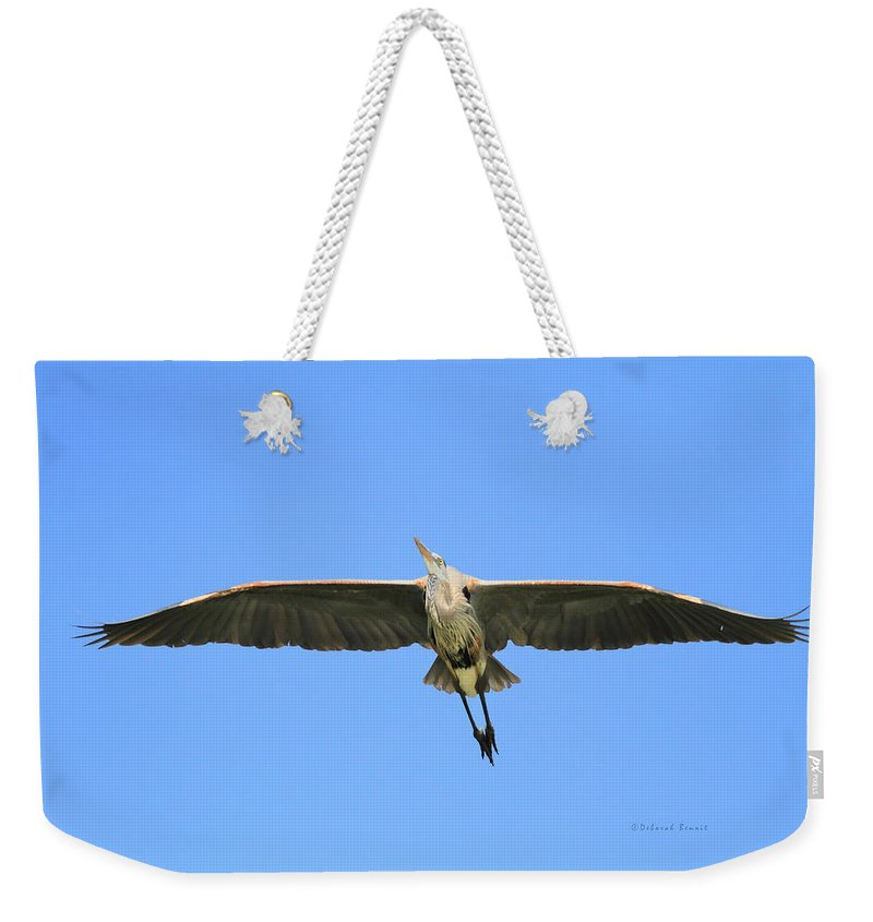 Blue Heron Weekender Tote Bag featuring the photograph Beauty Of Flight by Deborah Benoit