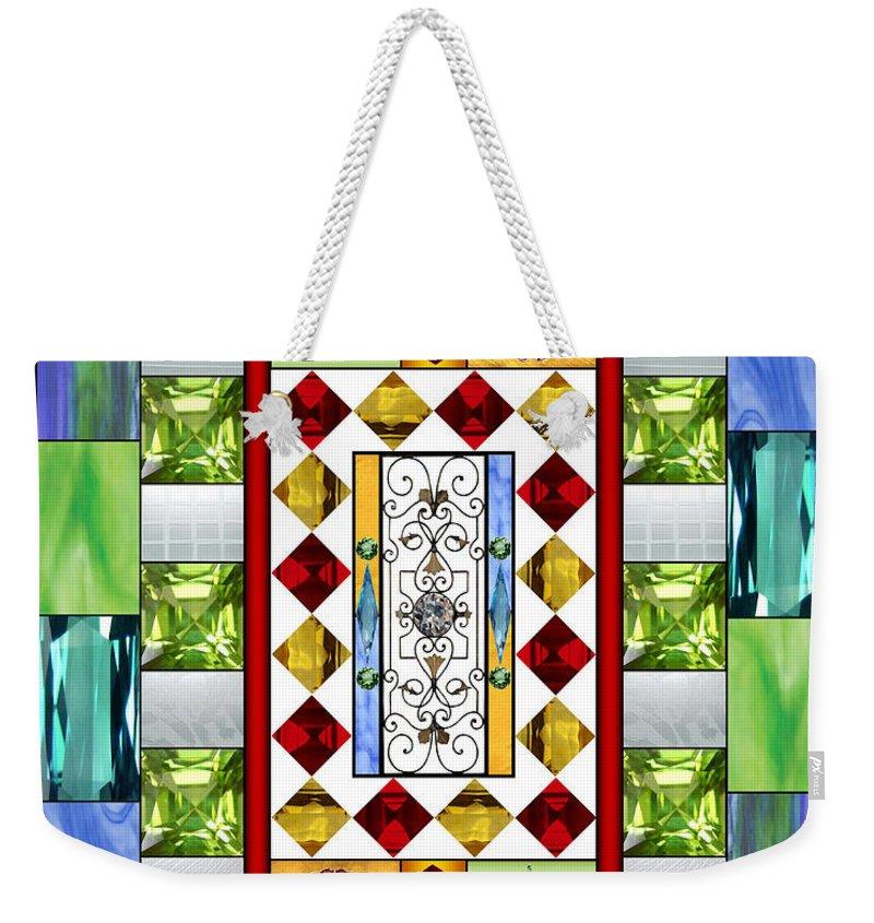 Bejeweled Weekender Tote Bag featuring the mixed media Bejeweled 1 by Ellen Henneke