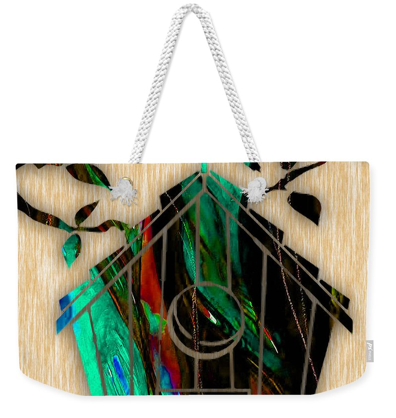 Bird Weekender Tote Bag featuring the mixed media Bird House by Marvin Blaine