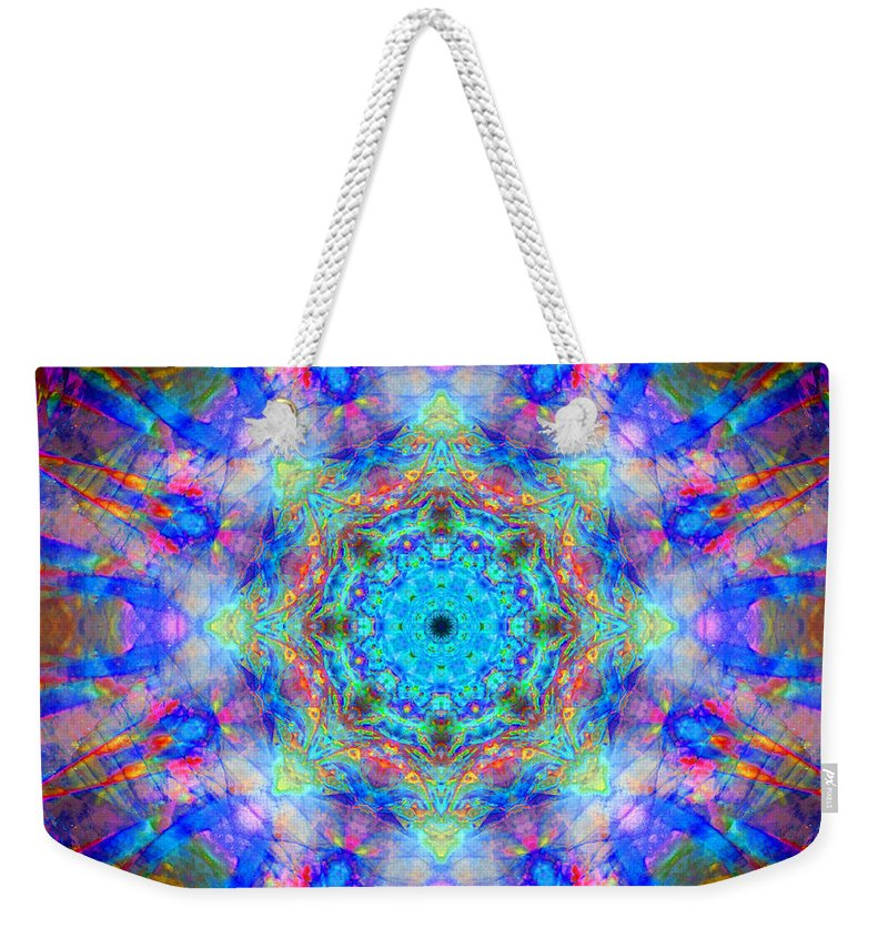 Rainbow Weekender Tote Bag featuring the photograph Blue Rainbow Star Mandala by Susan Bloom