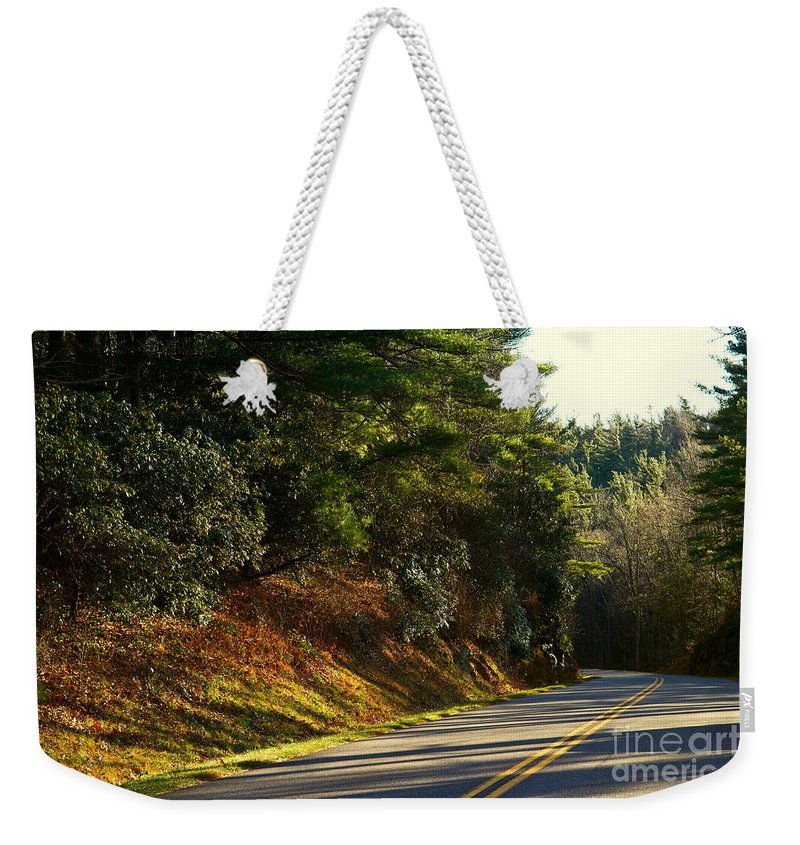 Blue Weekender Tote Bag featuring the photograph Blue Ridge Parkway by Les Palenik
