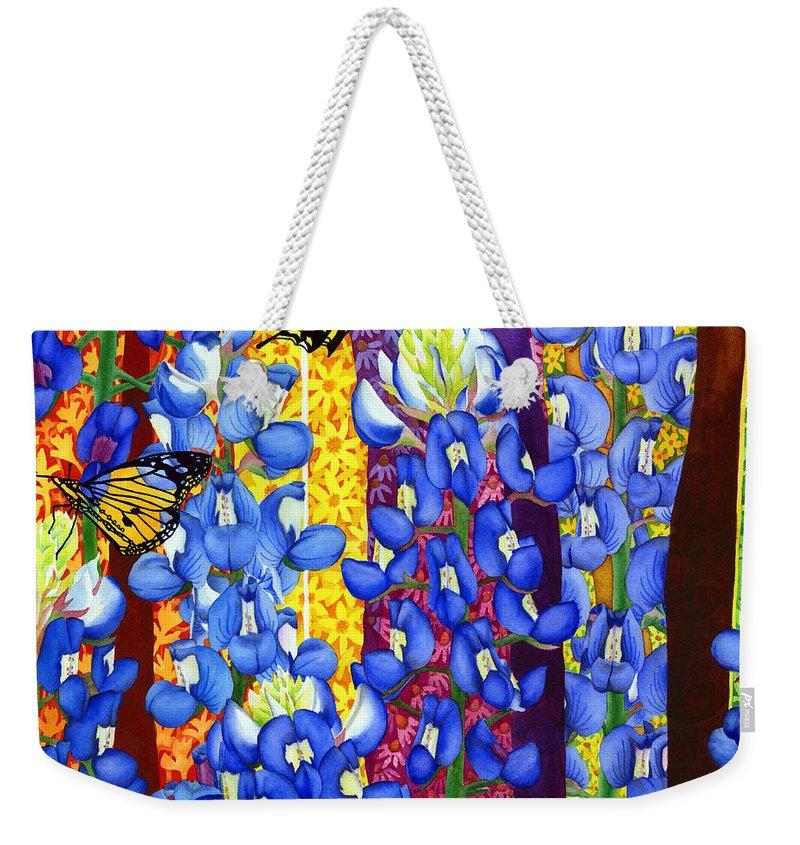 Bluebonnet Weekender Tote Bag featuring the painting Bluebonnet Garden by Hailey E Herrera