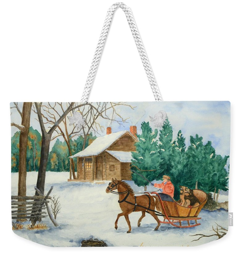 Winter Weekender Tote Bag featuring the painting Bo And Ozark - Dashing The Fab Two by Rhonda Leonard