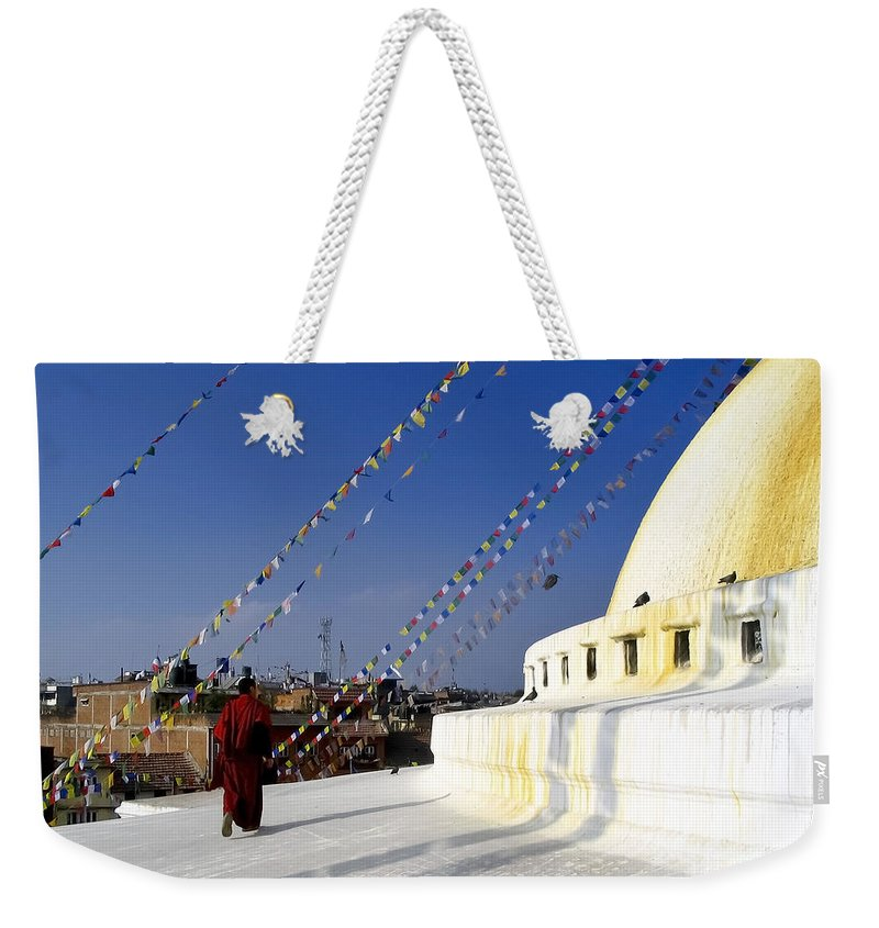Ancient Weekender Tote Bag featuring the photograph Bodhnath Stupa by Tim Hester