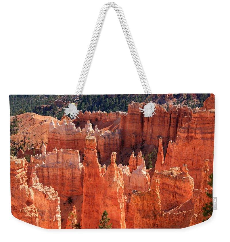 Utah Weekender Tote Bag featuring the photograph Bryce Canyon Red Rock by Aidan Moran