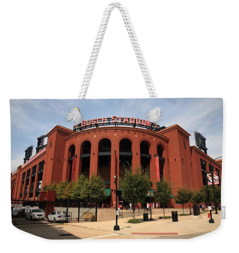 America Weekender Tote Bag featuring the photograph Busch Stadium - St. Louis Cardinals by Frank Romeo