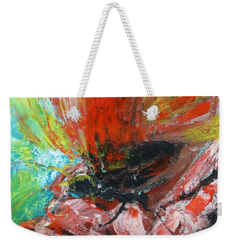Butterfly Weekender Tote Bag featuring the painting Butterfly And Flower by Jasna Dragun
