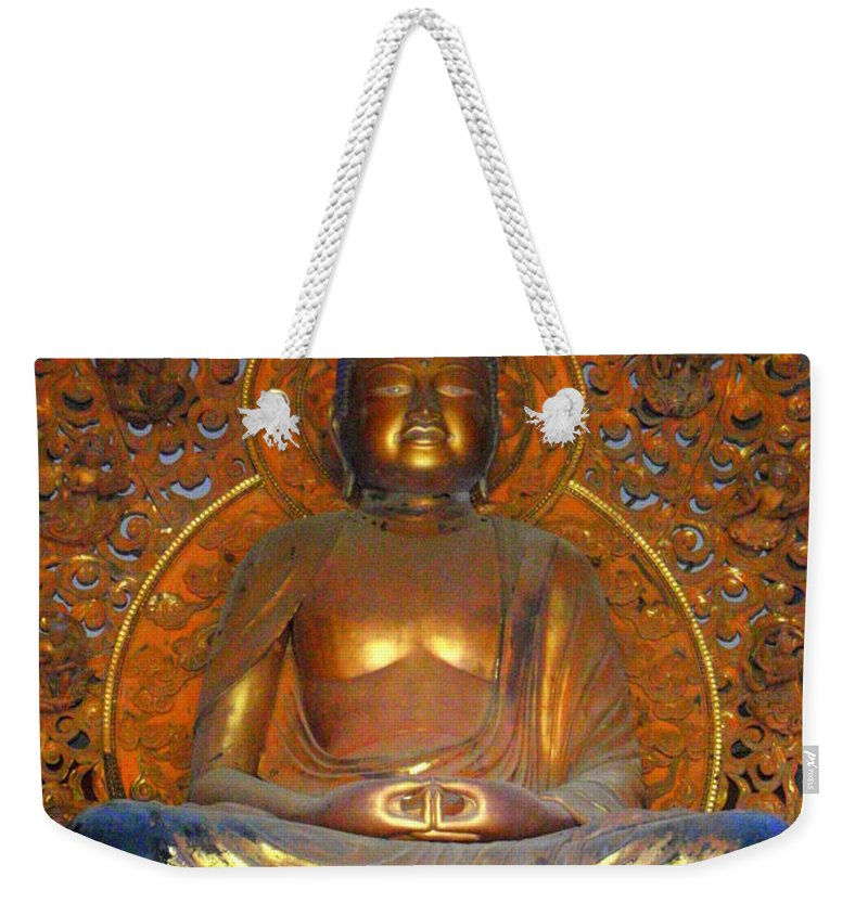 Mary Deal Weekender Tote Bag featuring the photograph Byodo In - Amida Buddha by Mary Deal