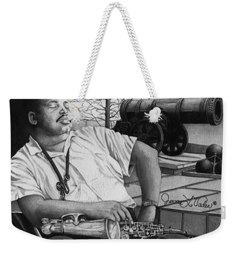 Jazz Weekender Tote Bag featuring the painting Jazz Cannonball Adderly by JL Vaden