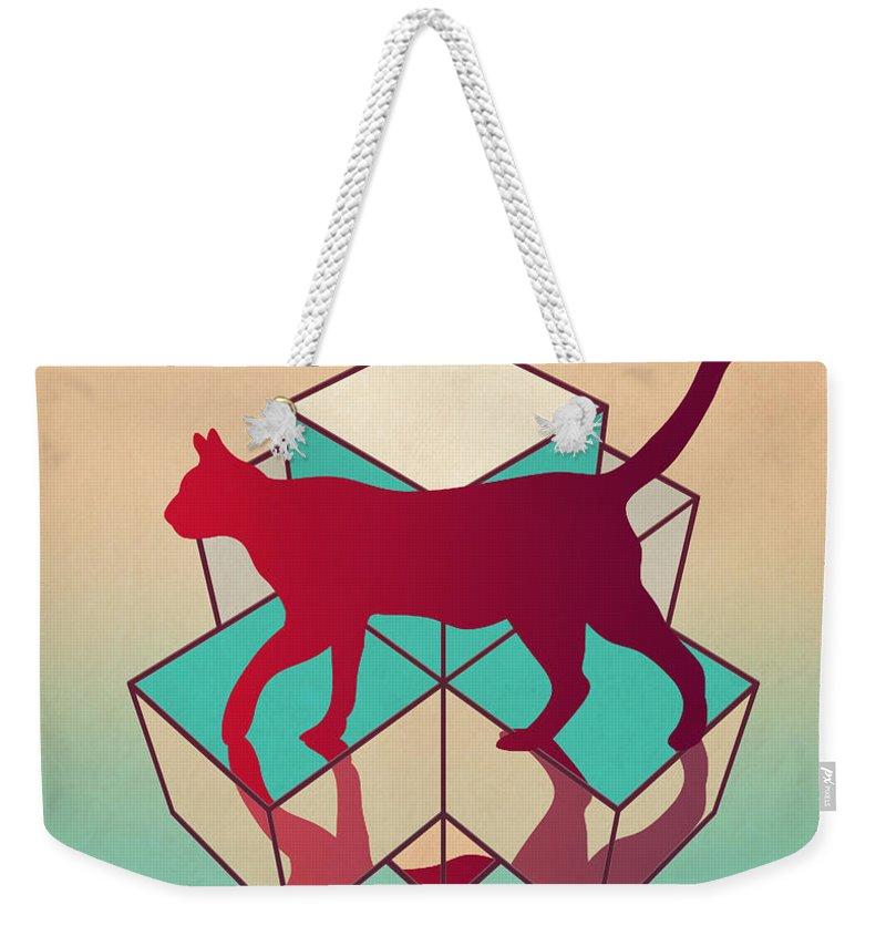 Cat Weekender Tote Bag featuring the digital art cat by Mark Ashkenazi
