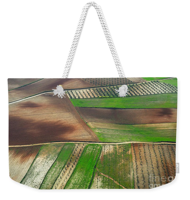 Aerial Photo Weekender Tote Bag featuring the photograph Cereal Fields From The Air by Guido Montanes Castillo