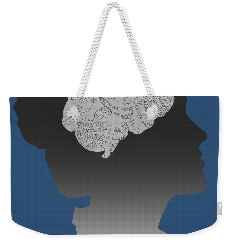 Illustration Weekender Tote Bag featuring the photograph Cerebral Activity In Woman by Gwen Shockey