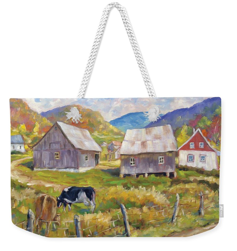 Art Weekender Tote Bag featuring the painting Charlevoix North by Richard T Pranke