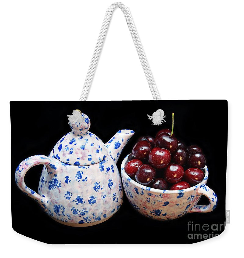 Andee Design Cherry Weekender Tote Bag featuring the photograph Cherries Invited To Tea by Andee Design