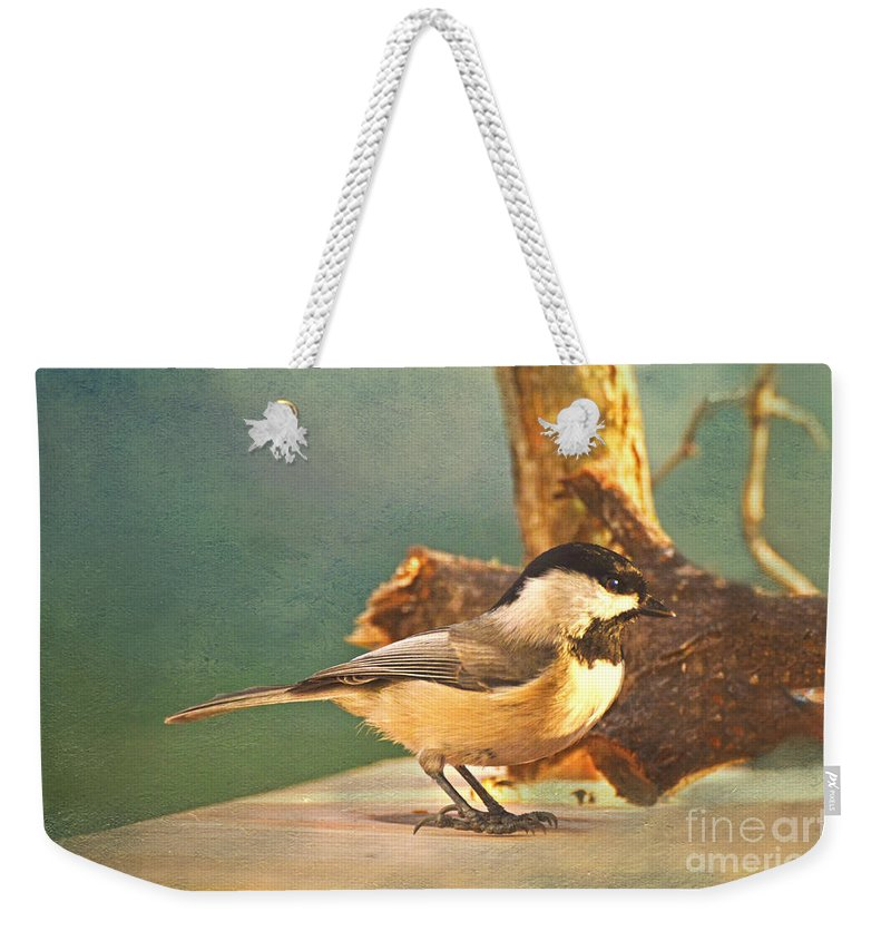 Nature Weekender Tote Bag featuring the photograph Chickadee by Debbie Portwood